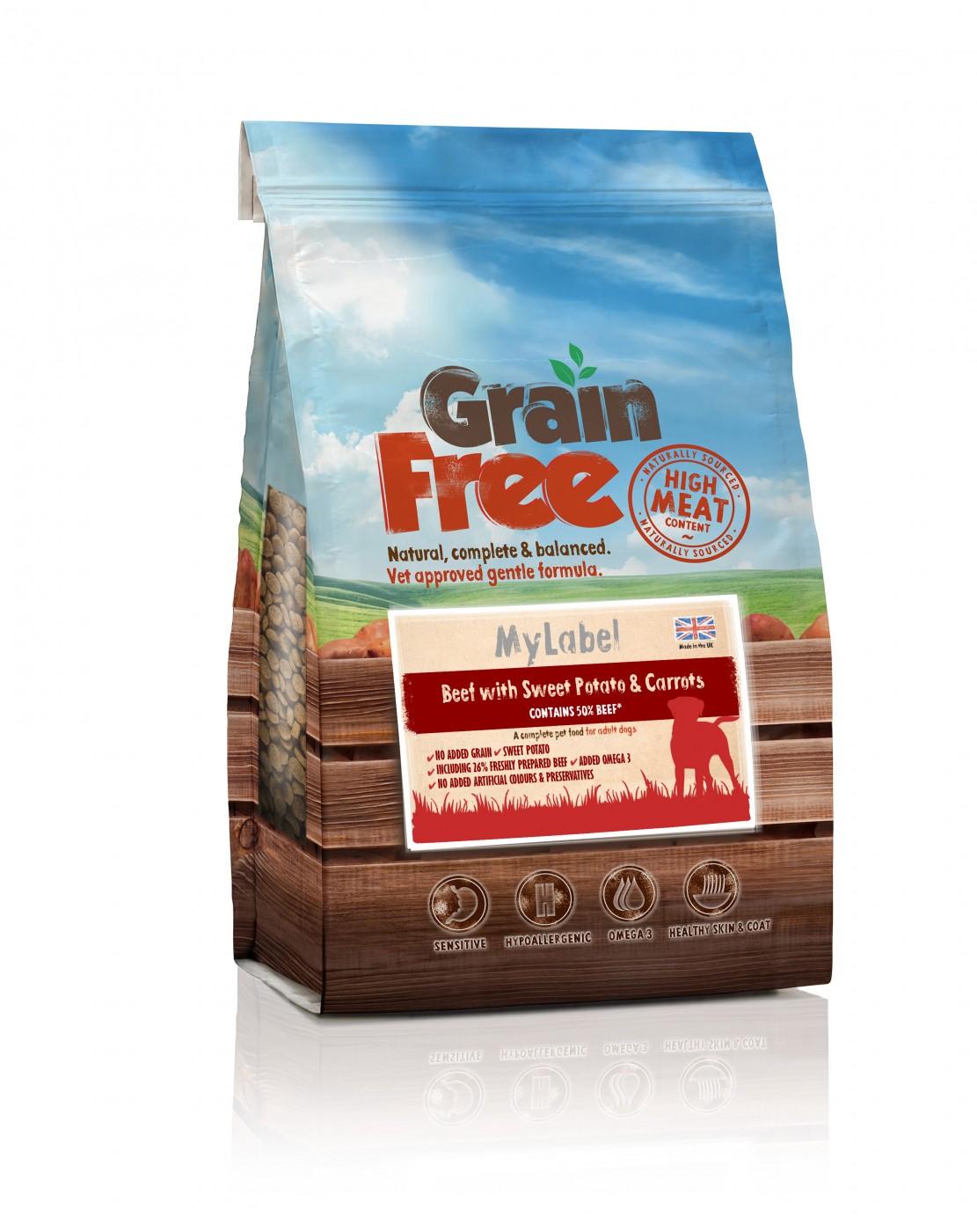 Grain Free Wołowina, słodkie ziemniaki, marchewka