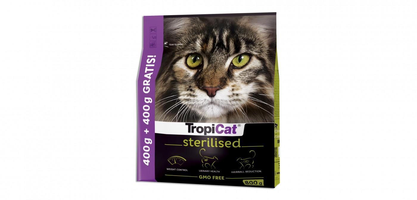 400 g + 400 g GRATIS – karma TropiCat Premium Sterilised w promocji